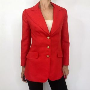Vintage 70s Orange Red Woven Hip Length Blazer